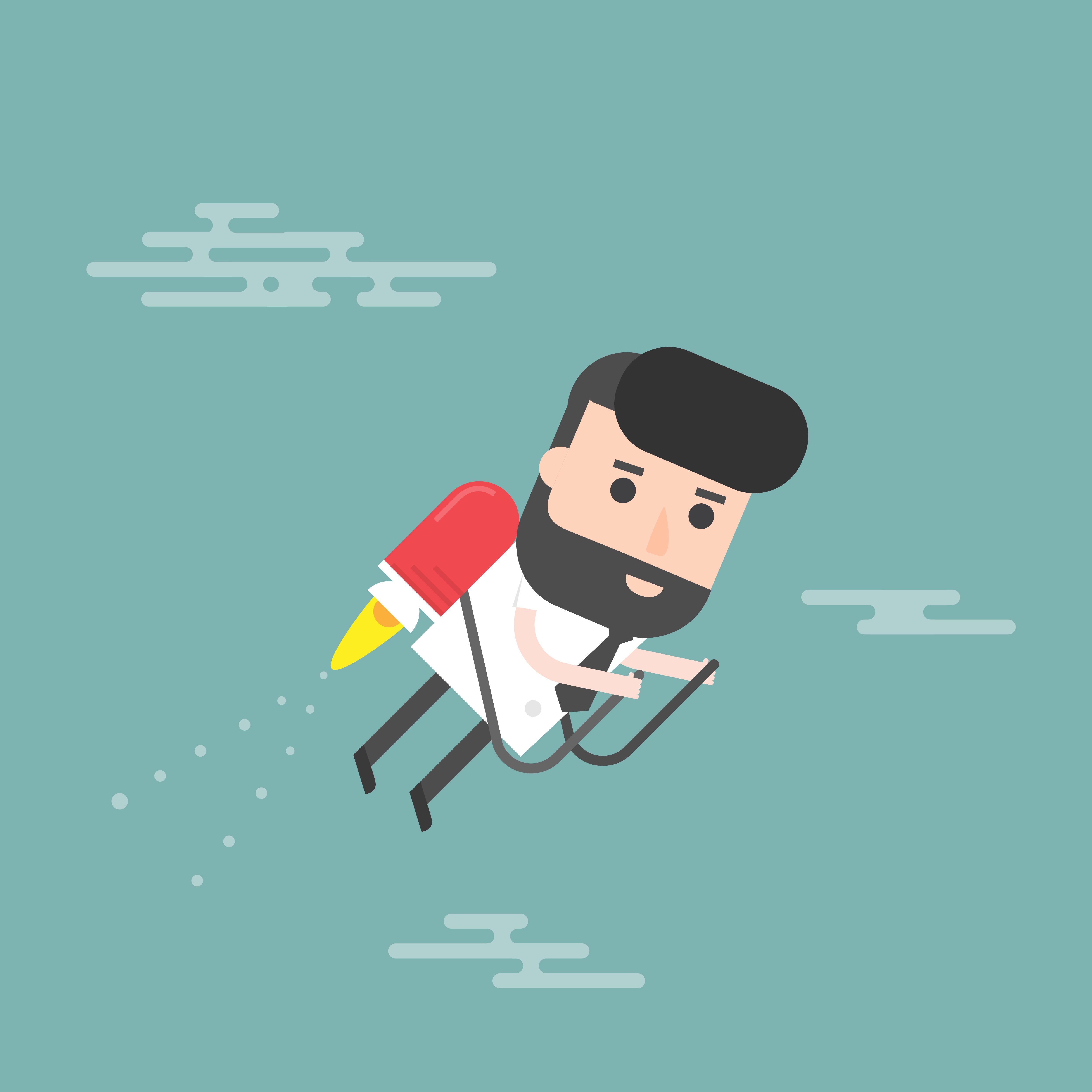 cartoon man on a jetpack